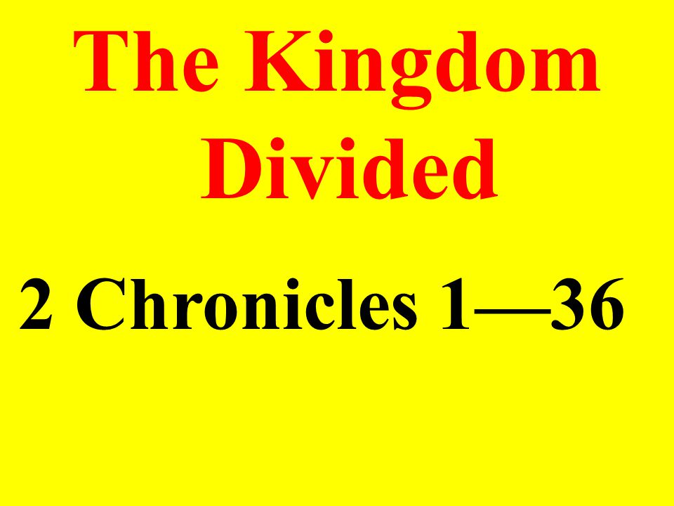 Something To Think About One readily sees the unity of 1 and 2 Chronicles (originally written as a single document) as the author, having reported Solomon's coronation at the end of 1 Chronicles, continued with a detailed account of Solomon's rule of the nation.
