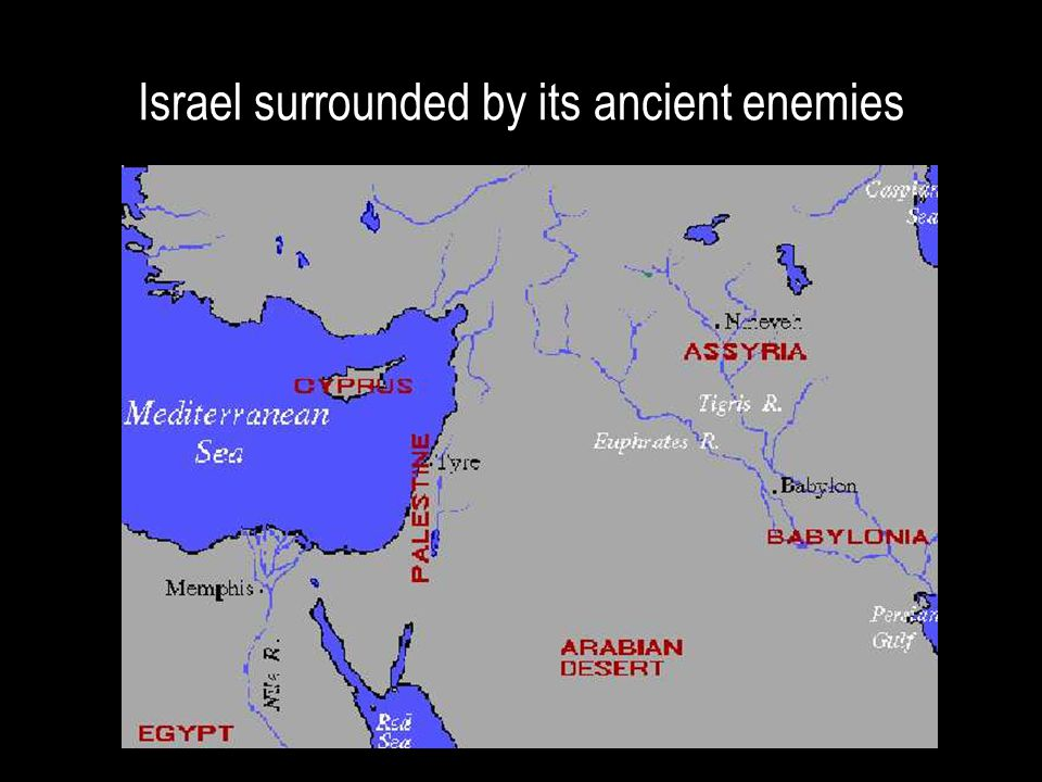Israel surrounded by its ancient enemies