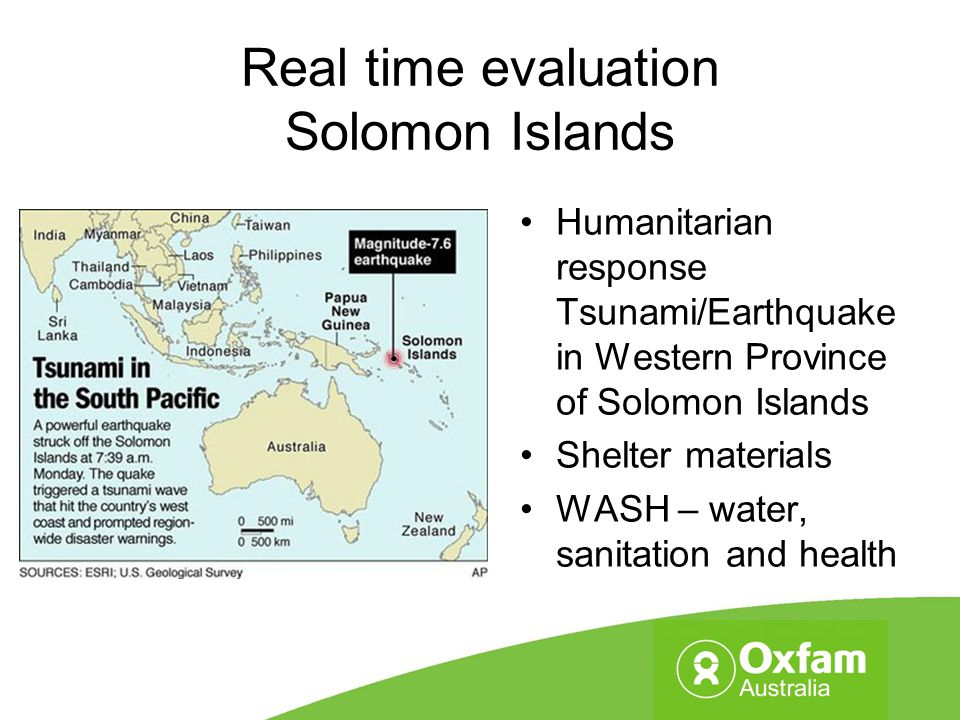 Real time evaluation Solomon Islands Humanitarian response Tsunami/Earthquake in Western Province of Solomon Islands Shelter materials WASH – water, s