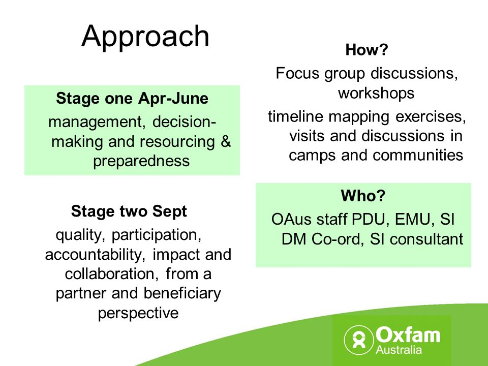 Approach Stage one Apr-June management, decision- making and resourcing & preparedness Stage two Sept quality, participation, accountability, impact a