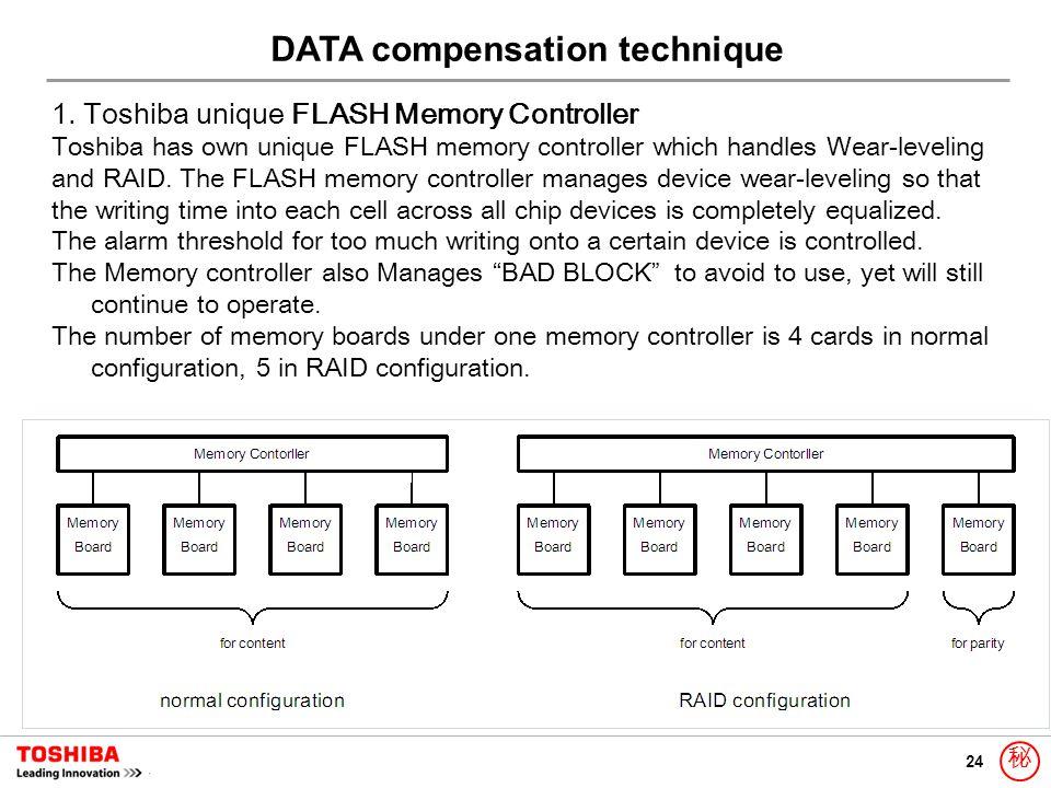 24 秘 1. Toshiba unique FLASH Memory Controller Toshiba has own unique FLASH memory controller which handles Wear-leveling and RAID. The FLASH memory c
