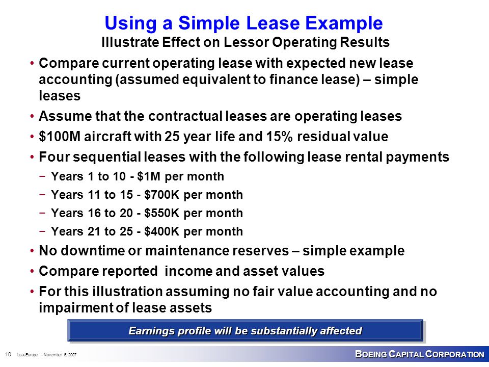 B OEING C APITAL C ORPORATION 10 LeasEurope – November 5, 2007 Using a Simple Lease Example Illustrate Effect on Lessor Operating Results Compare current operating lease with expected new lease accounting (assumed equivalent to finance lease) – simple leases Assume that the contractual leases are operating leases $100M aircraft with 25 year life and 15% residual value Four sequential leases with the following lease rental payments −Years 1 to 10 - $1M per month −Years 11 to 15 - $700K per month −Years 16 to 20 - $550K per month −Years 21 to 25 - $400K per month No downtime or maintenance reserves – simple example Compare reported income and asset values For this illustration assuming no fair value accounting and no impairment of lease assets Earnings profile will be substantially affected