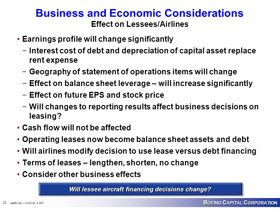 B OEING C APITAL C ORPORATION 20 LeasEurope – November 5, 2007 Business and Economic Considerations Effect on Lessees/Airlines Earnings profile will c