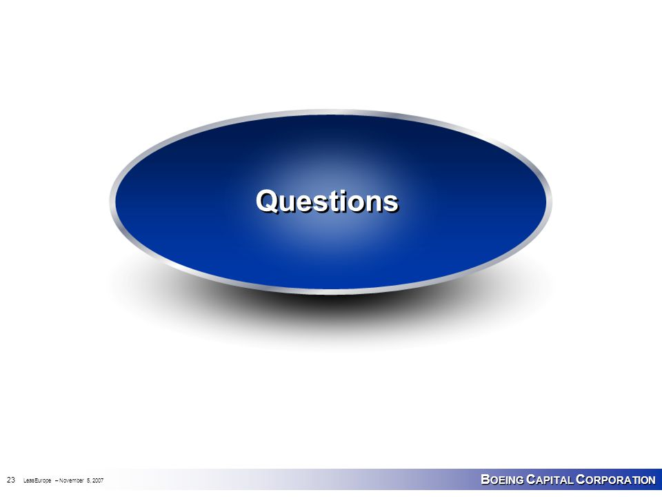 B OEING C APITAL C ORPORATION 23 LeasEurope – November 5, 2007 Questions