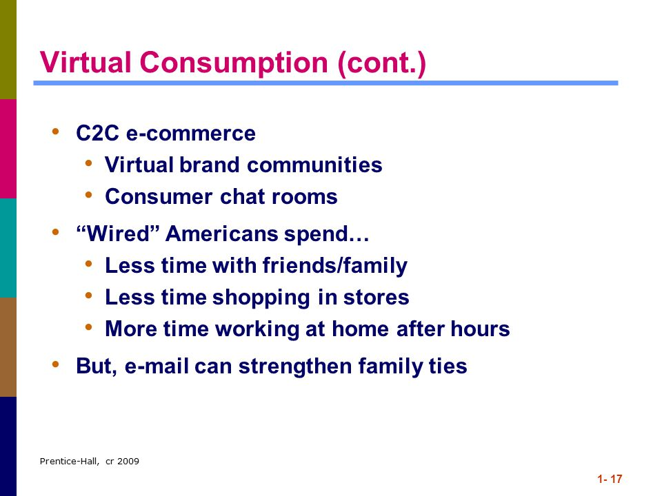 Prentice-Hall, cr 2009 1- 17 Virtual Consumption (cont.) C2C e-commerce Virtual brand communities Consumer chat rooms Wired Americans spend… Less time with friends/family Less time shopping in stores More time working at home after hours But, e-mail can strengthen family ties