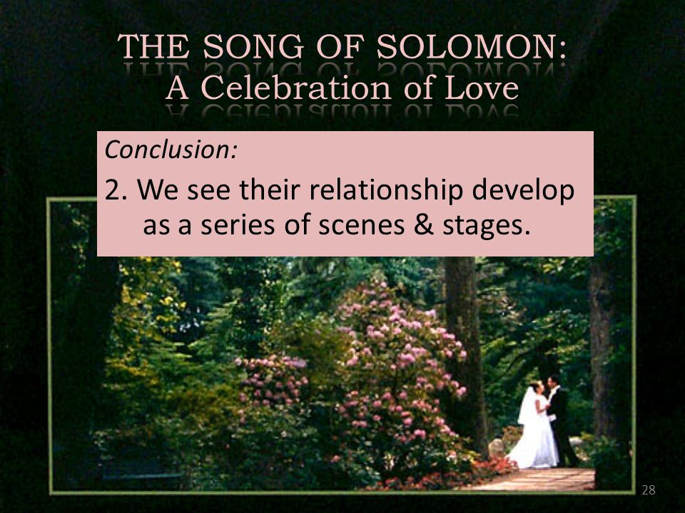 Conclusion: 2. We see their relationship develop as a series of scenes & stages. 28