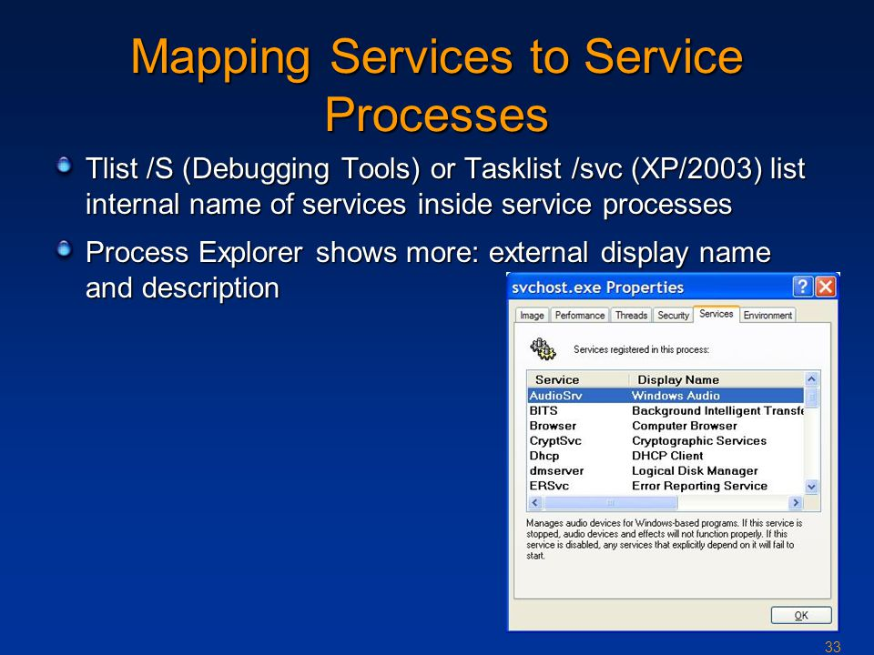 33 Mapping Services to Service Processes Tlist /S (Debugging Tools) or Tasklist /svc (XP/2003) list internal name of services inside service processes Process Explorer shows more: external display name and description