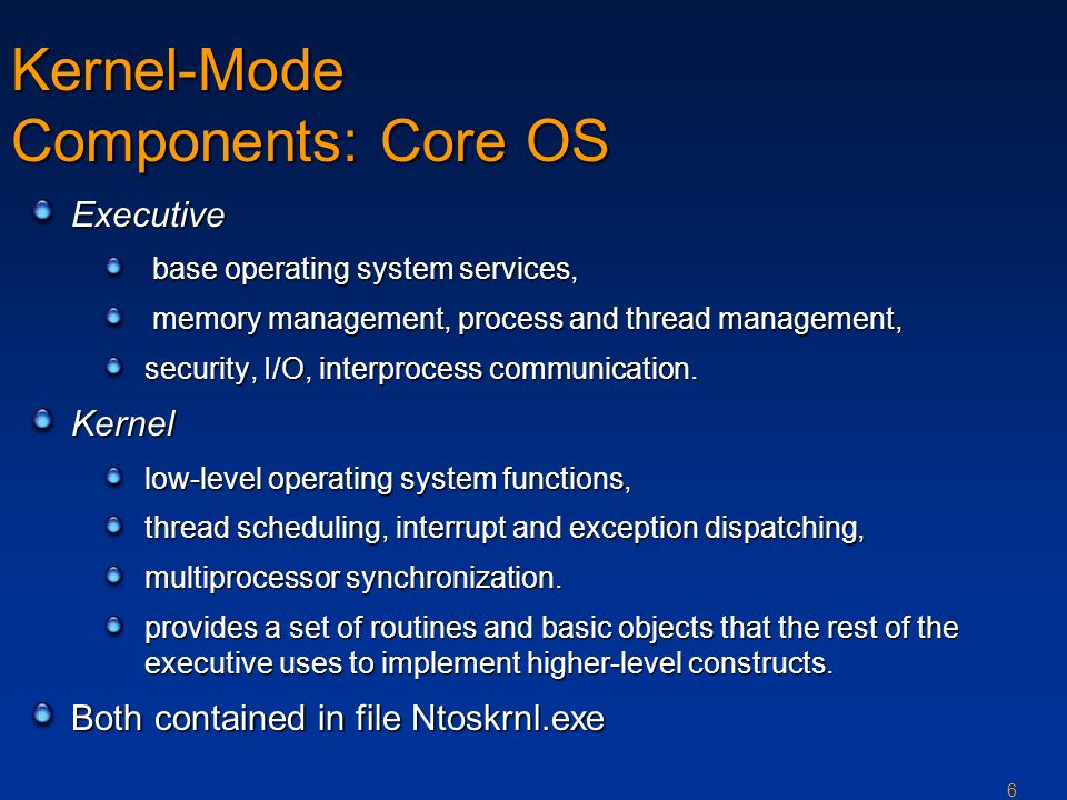 6 Kernel-Mode Components: Core OS Executive base operating system services, base operating system services, memory management, process and thread management, memory management, process and thread management, security, I/O, interprocess communication.