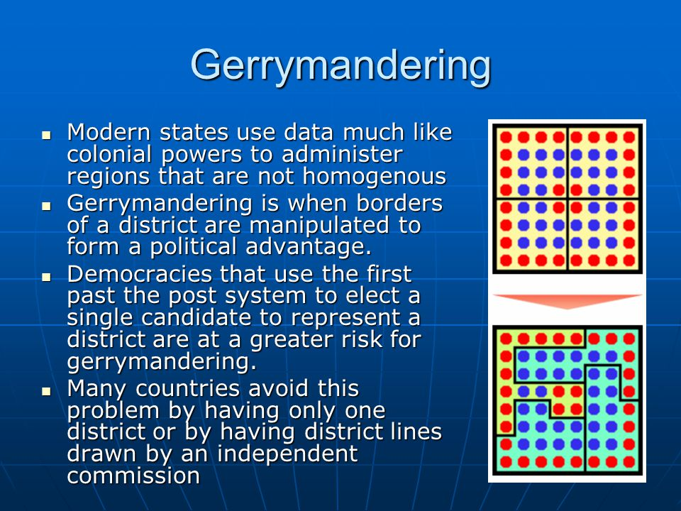 Gerrymandering Modern states use data much like colonial powers to administer regions that are not homogenous Modern states use data much like colonial powers to administer regions that are not homogenous Gerrymandering is when borders of a district are manipulated to form a political advantage.