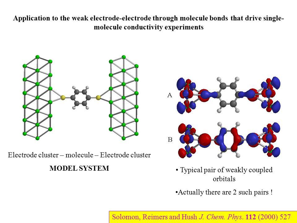 Application to the weak electrode-electrode through molecule bonds that drive single- molecule conductivity experiments Electrode cluster – molecule –