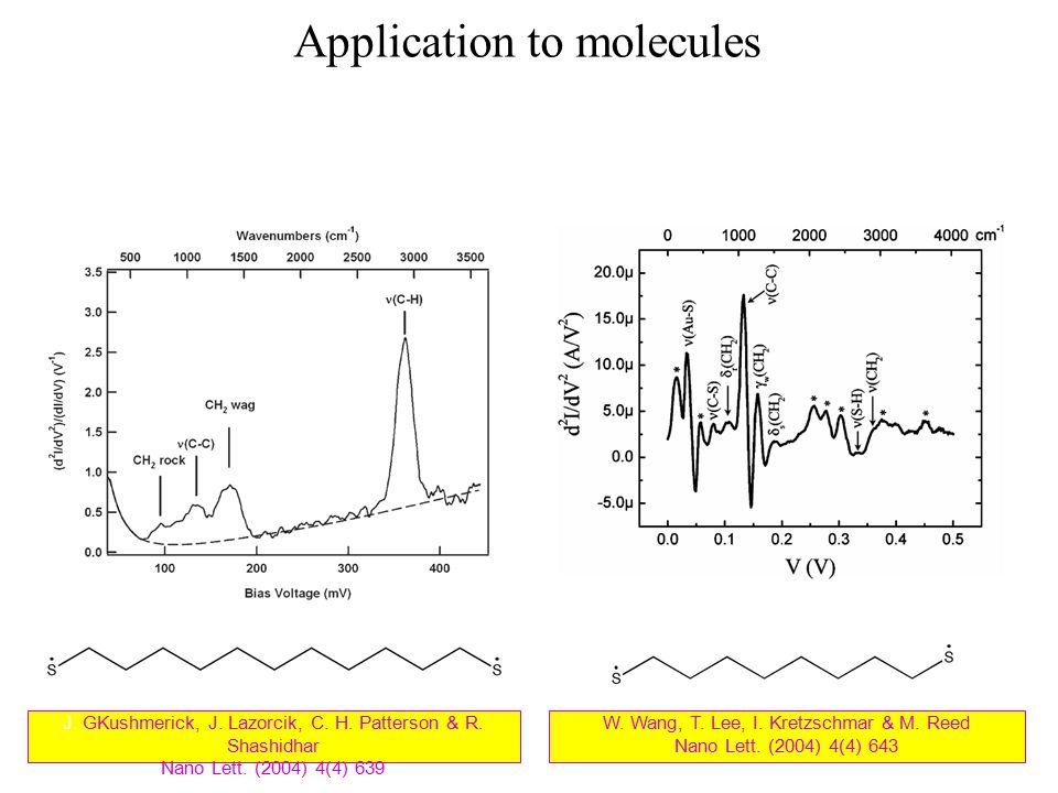 Application to molecules W. Wang, T. Lee, I. Kretzschmar & M. Reed Nano Lett. (2004) 4(4) 643 J. GKushmerick, J. Lazorcik, C. H. Patterson & R. Shashi