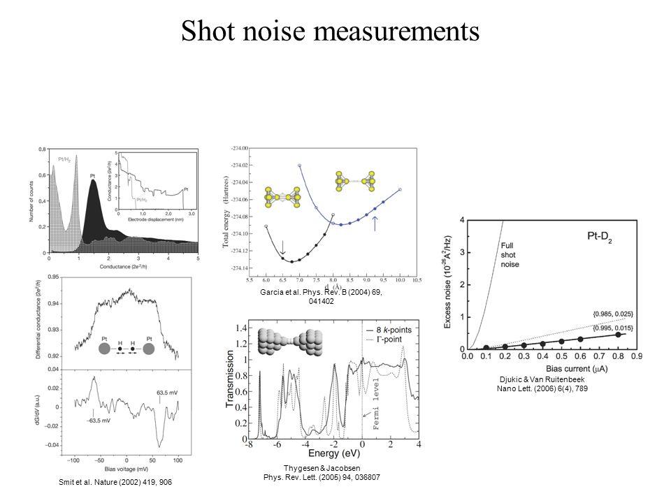 Shot noise measurements Smit et al. Nature (2002) 419, 906 Garcia et al. Phys. Rev. B (2004) 69, 041402 Thygesen & Jacobsen Phys. Rev. Lett. (2005) 94