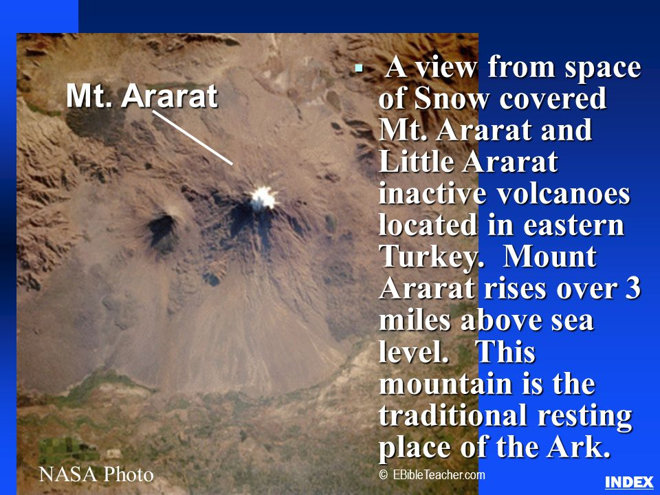  A view from space of Snow covered Mt.
