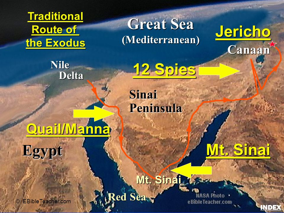 Egypt Nile Delta Delta Great Sea (Mediterranean) Red Sea SinaiPeninsula Canaan Traditional Route of the Exodus © EBibleTeacher.com Quail/Manna Mt.