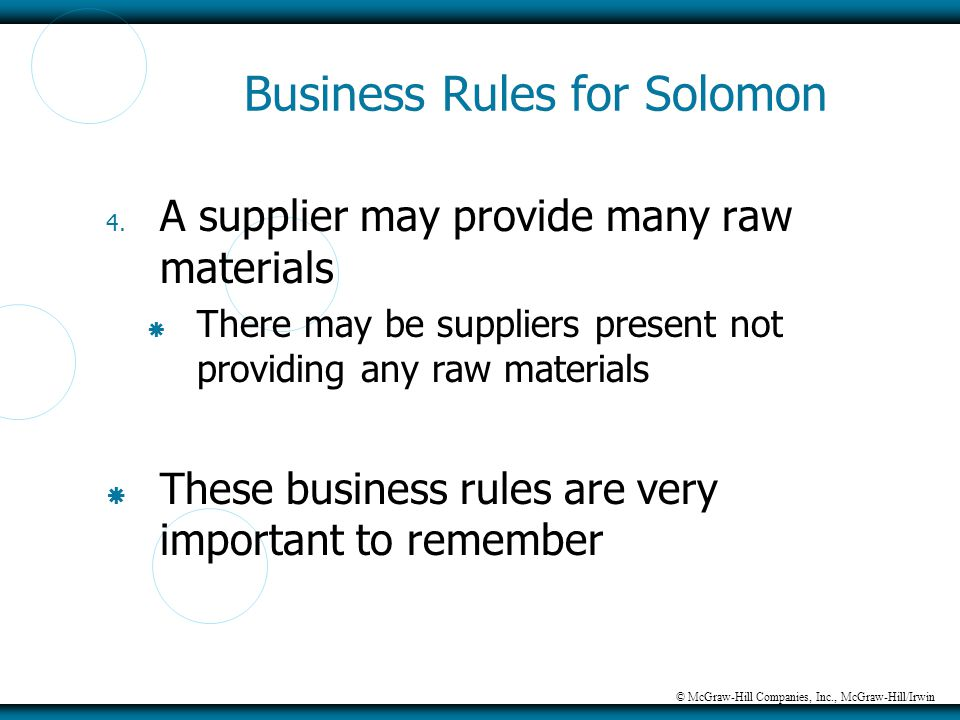 © McGraw-Hill Companies, Inc., McGraw-Hill/Irwin Business Rules for Solomon 4. A supplier may provide many raw materials  There may be suppliers pres
