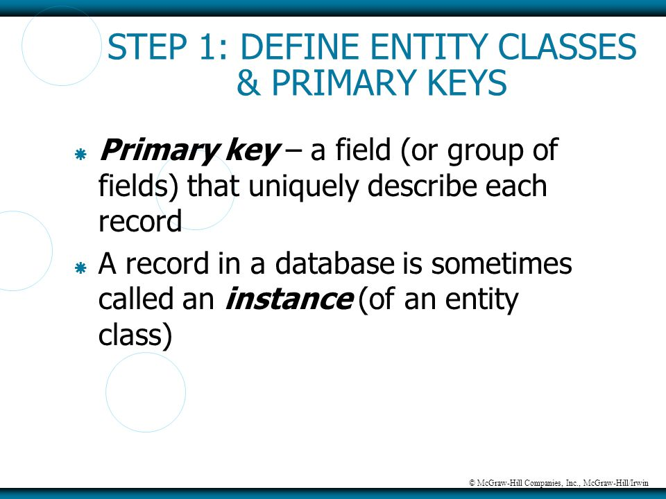 © McGraw-Hill Companies, Inc., McGraw-Hill/Irwin STEP 1: DEFINE ENTITY CLASSES & PRIMARY KEYS  Primary key – a field (or group of fields) that unique