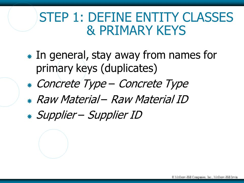 © McGraw-Hill Companies, Inc., McGraw-Hill/Irwin STEP 1: DEFINE ENTITY CLASSES & PRIMARY KEYS  In general, stay away from names for primary keys (dup