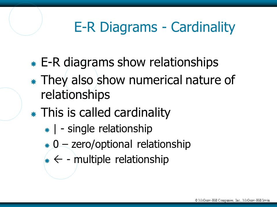 © McGraw-Hill Companies, Inc., McGraw-Hill/Irwin E-R Diagrams - Cardinality  E-R diagrams show relationships  They also show numerical nature of rel
