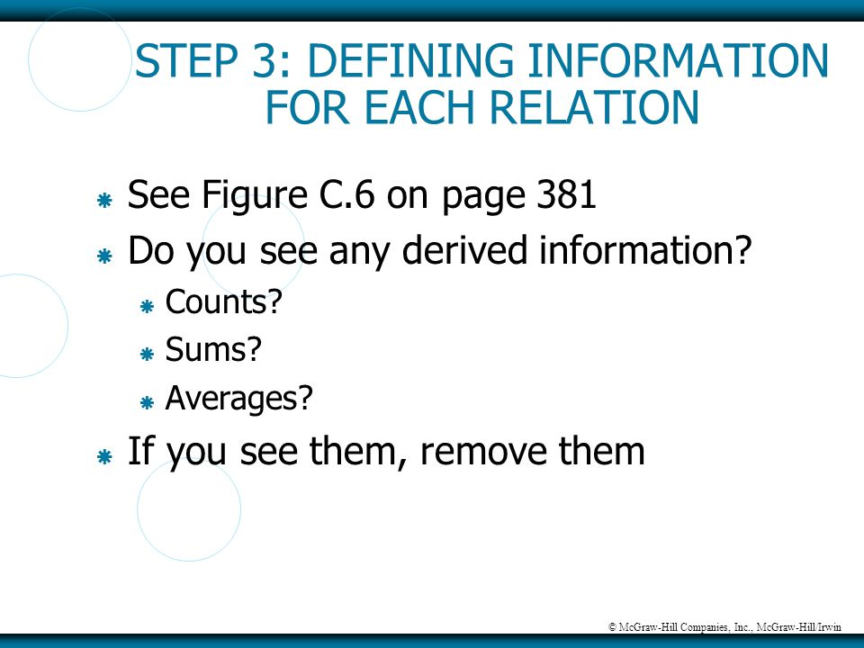 © McGraw-Hill Companies, Inc., McGraw-Hill/Irwin STEP 3: DEFINING INFORMATION FOR EACH RELATION  See Figure C.6 on page 381  Do you see any derived
