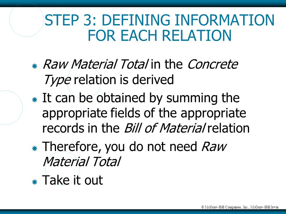 © McGraw-Hill Companies, Inc., McGraw-Hill/Irwin STEP 3: DEFINING INFORMATION FOR EACH RELATION  Raw Material Total in the Concrete Type relation is