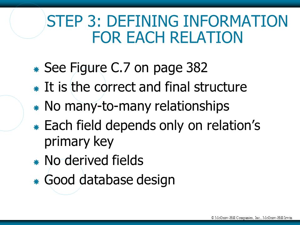 © McGraw-Hill Companies, Inc., McGraw-Hill/Irwin STEP 3: DEFINING INFORMATION FOR EACH RELATION  See Figure C.7 on page 382  It is the correct and f