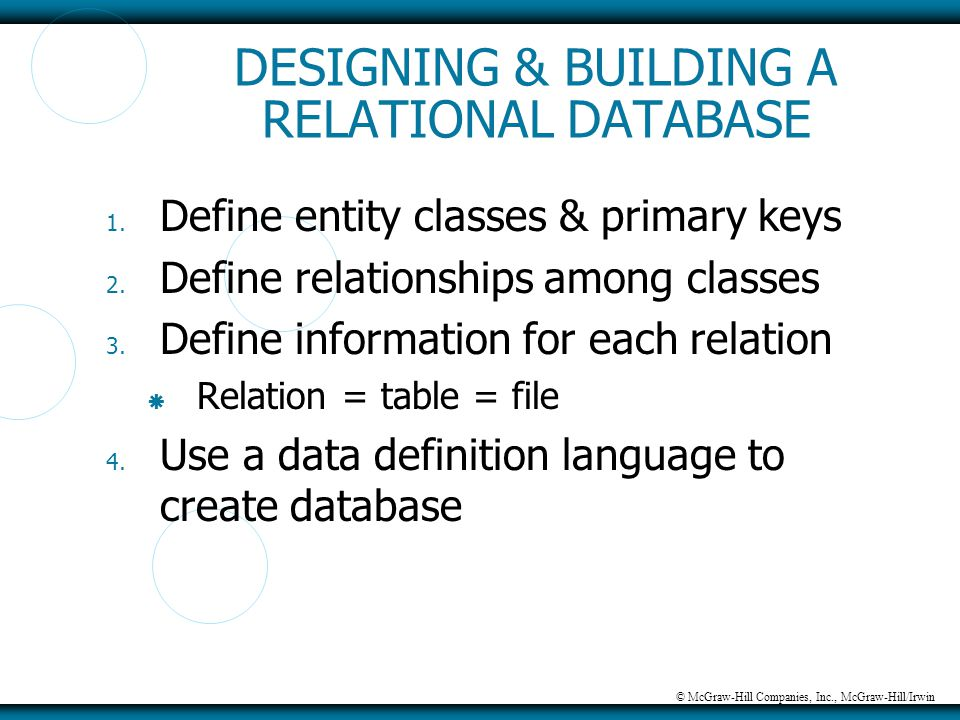 © McGraw-Hill Companies, Inc., McGraw-Hill/Irwin DESIGNING & BUILDING A RELATIONAL DATABASE 1. Define entity classes & primary keys 2. Define relation