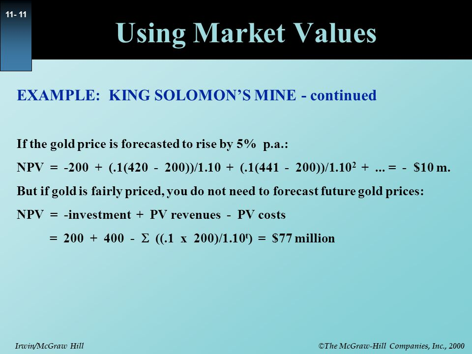 © The McGraw-Hill Companies, Inc., 2000 Irwin/McGraw Hill 11- 11 EXAMPLE: KING SOLOMON'S MINE - continued If the gold price is forecasted to rise by 5% p.a.: NPV = -200 + (.1(420 - 200))/1.10 + (.1(441 - 200))/1.10 2 +...