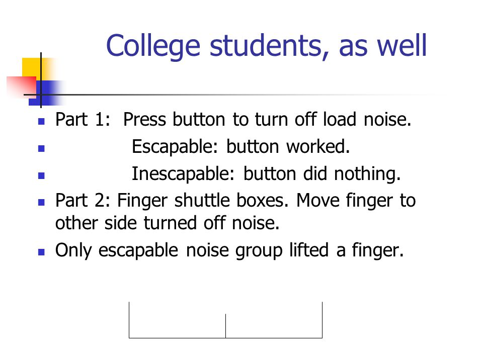 College students, as well Part 1: Press button to turn off load noise. Escapable: button worked. Inescapable: button did nothing. Part 2: Finger shutt