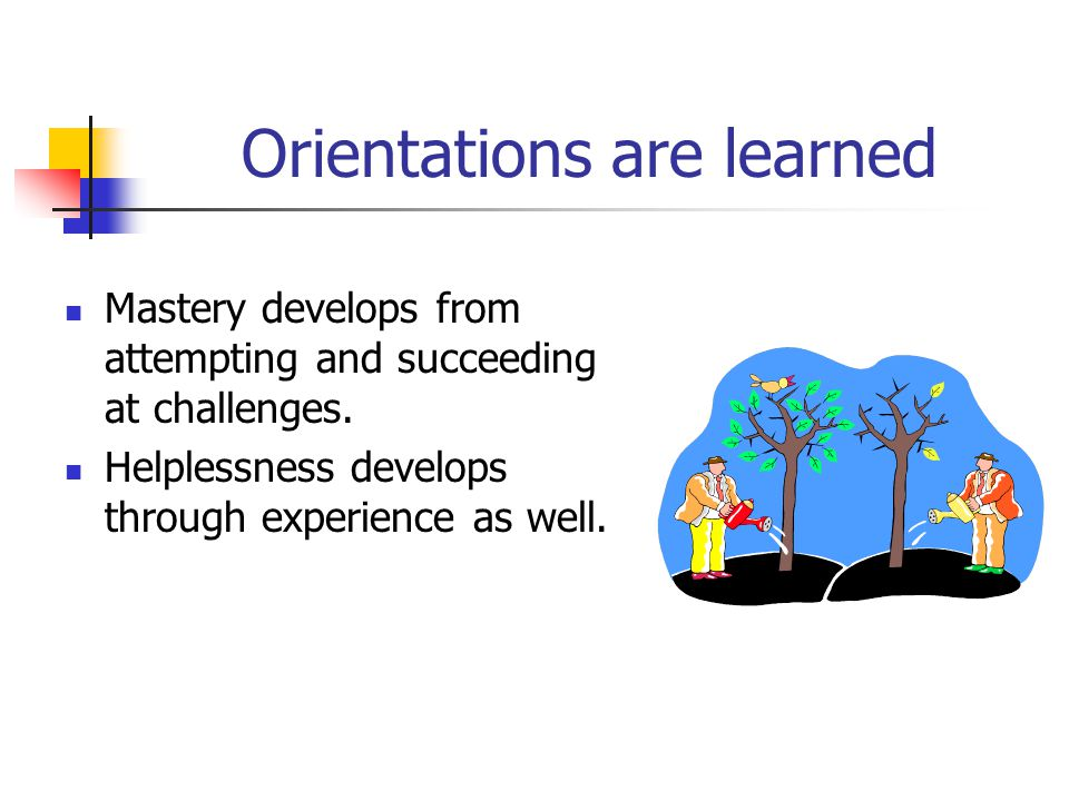 Orientations are learned Mastery develops from attempting and succeeding at challenges. Helplessness develops through experience as well.