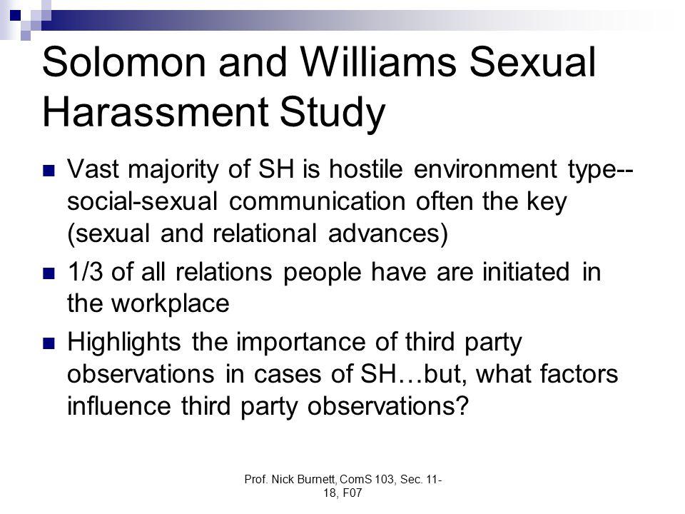 Prof. Nick Burnett, ComS 103, Sec. 11- 18, F07 Solomon and Williams Sexual Harassment Study Vast majority of SH is hostile environment type-- social-s