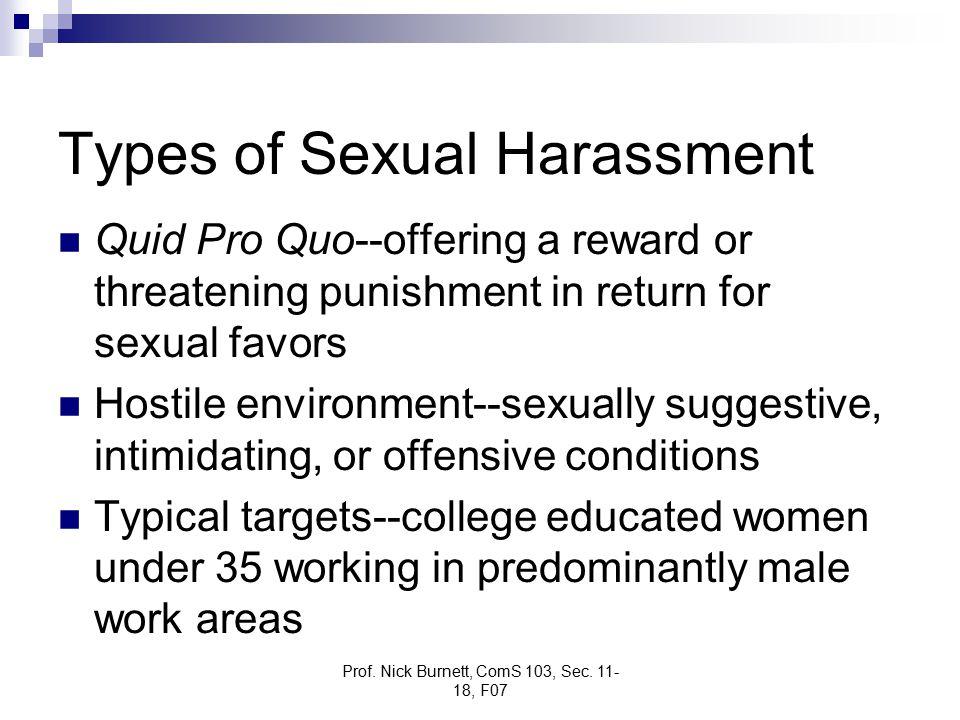 Prof. Nick Burnett, ComS 103, Sec. 11- 18, F07 Types of Sexual Harassment Quid Pro Quo--offering a reward or threatening punishment in return for sexu
