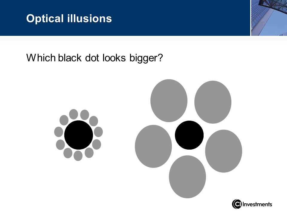 Which black dot looks bigger? Optical illusions