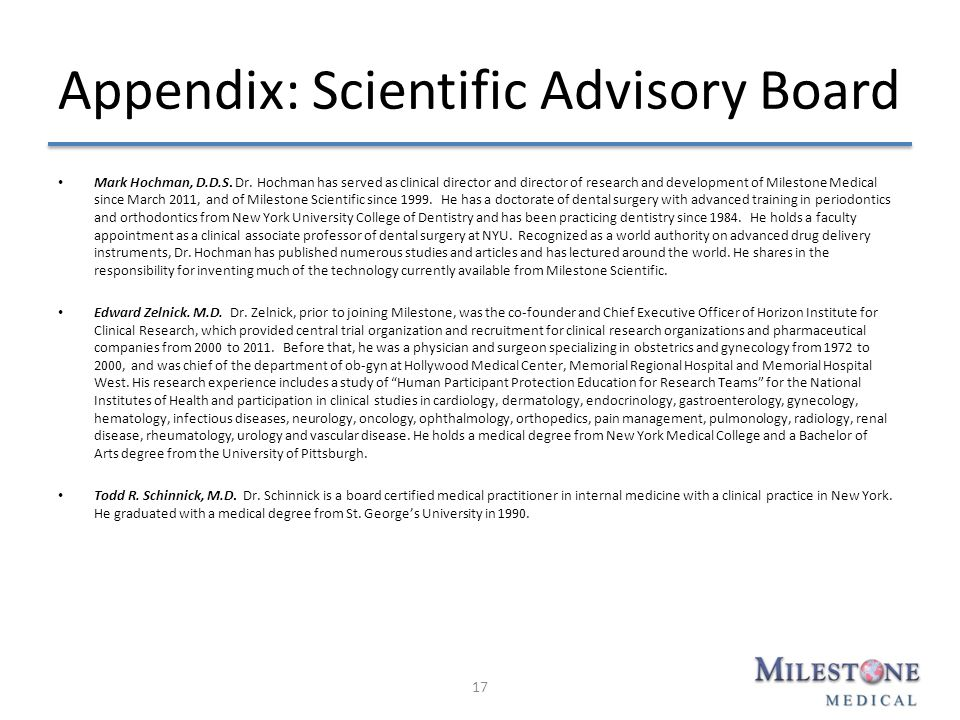 Appendix: Scientific Advisory Board Mark Hochman, D.D.S.