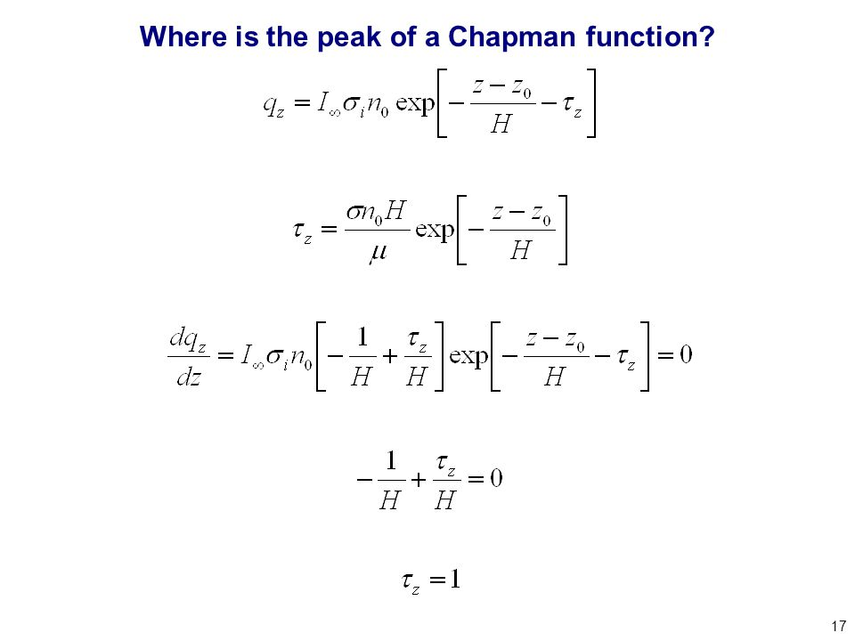 17 Where is the peak of a Chapman function