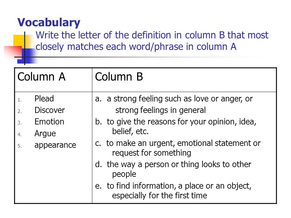 Vocabulary Write the letter of the definition in column B that most closely matches each word/phrase in column A Column AColumn B 1.