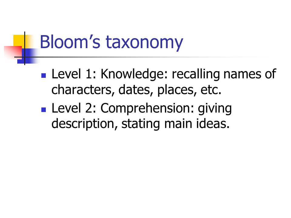 Bloom's taxonomy Level 1: Knowledge: recalling names of characters, dates, places, etc.