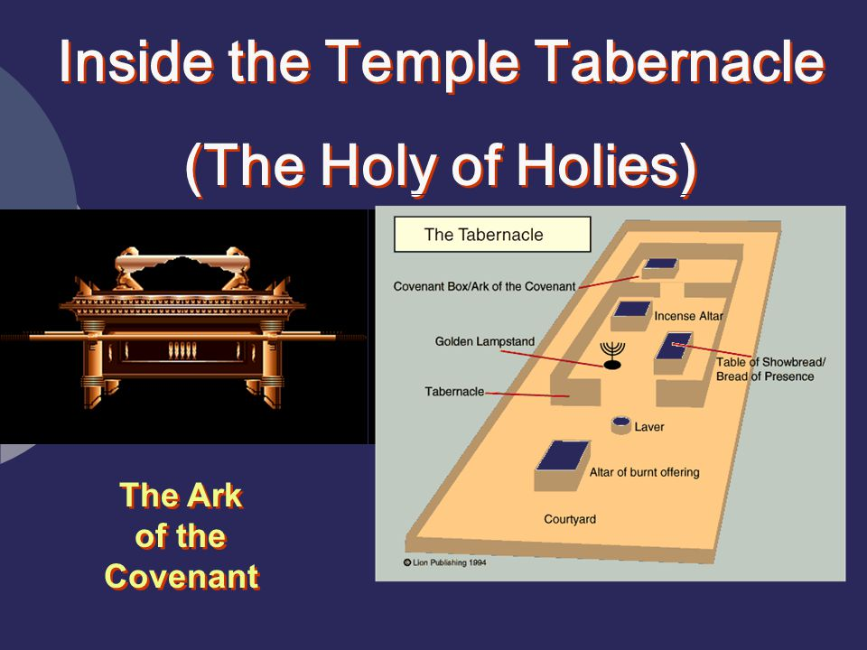Inside the Temple Tabernacle (The Holy of Holies) Inside the Temple Tabernacle (The Holy of Holies) The Ark of the Covenant
