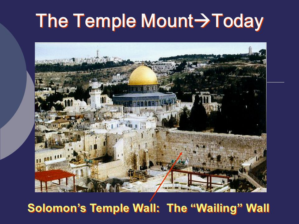 The Temple Mount  Today Solomon's Temple Wall: The Wailing Wall
