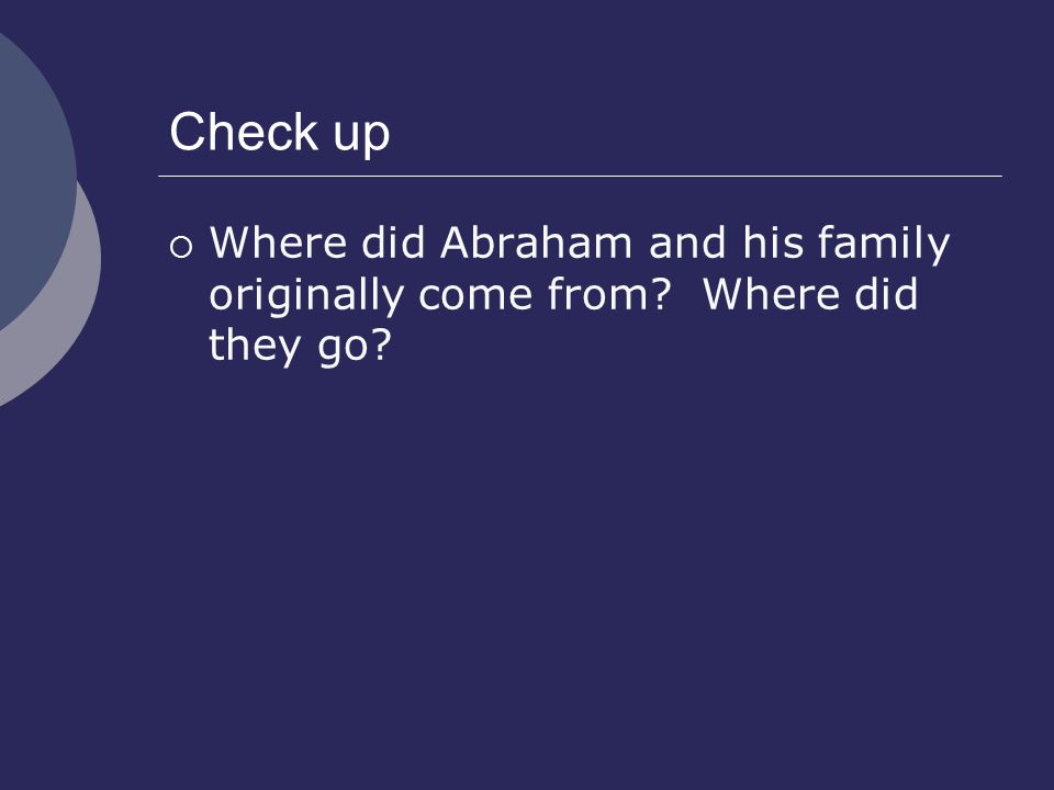 Check up  Where did Abraham and his family originally come from? Where did they go?