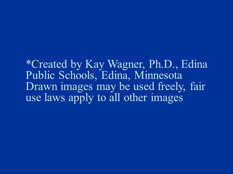 *Created by Kay Wagner, Ph.D., Edina Public Schools, Edina, Minnesota Drawn images may be used freely, fair use laws apply to all other images