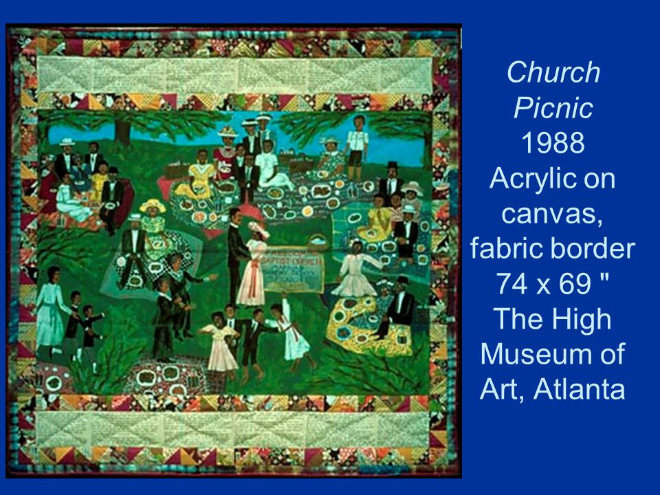 Church Picnic 1988 Acrylic on canvas, fabric border 74 x 69