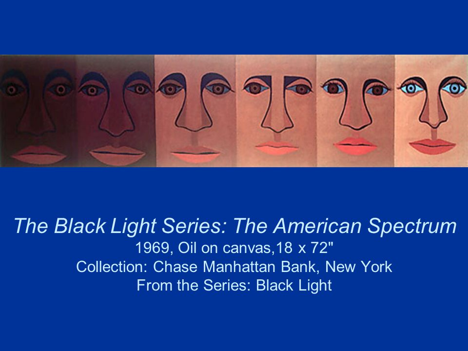 The Black Light Series: The American Spectrum 1969, Oil on canvas,18 x 72 Collection: Chase Manhattan Bank, New York From the Series: Black Light
