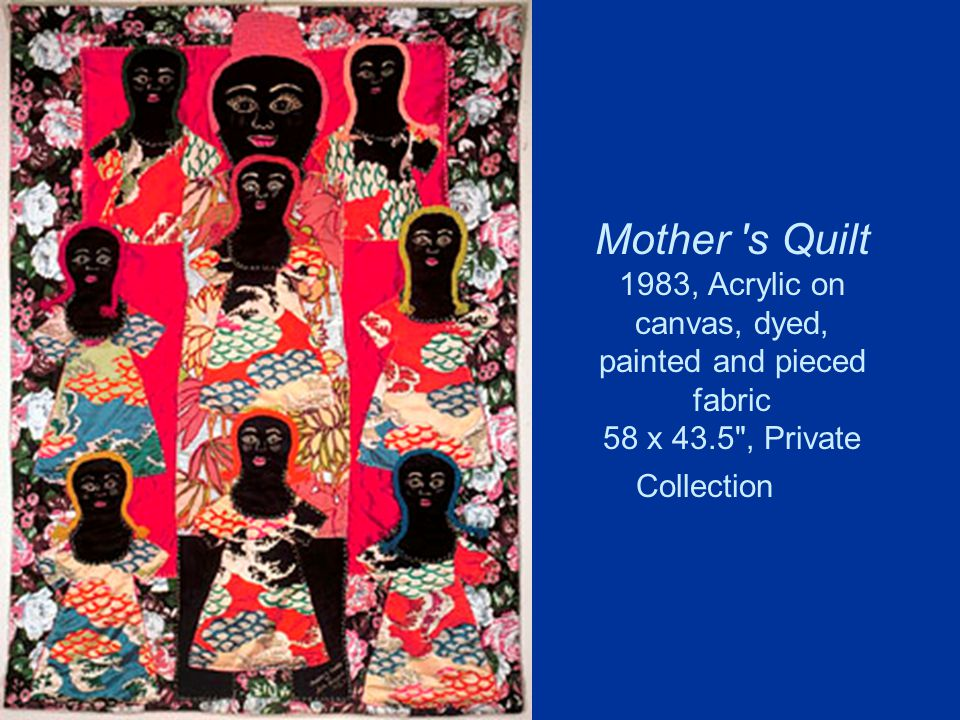 Mother 's Quilt 1983, Acrylic on canvas, dyed, painted and pieced fabric 58 x 43.5