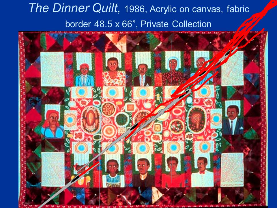 The Dinner Quilt, 1986, Acrylic on canvas, fabric border 48.5 x 66 , Private Collection