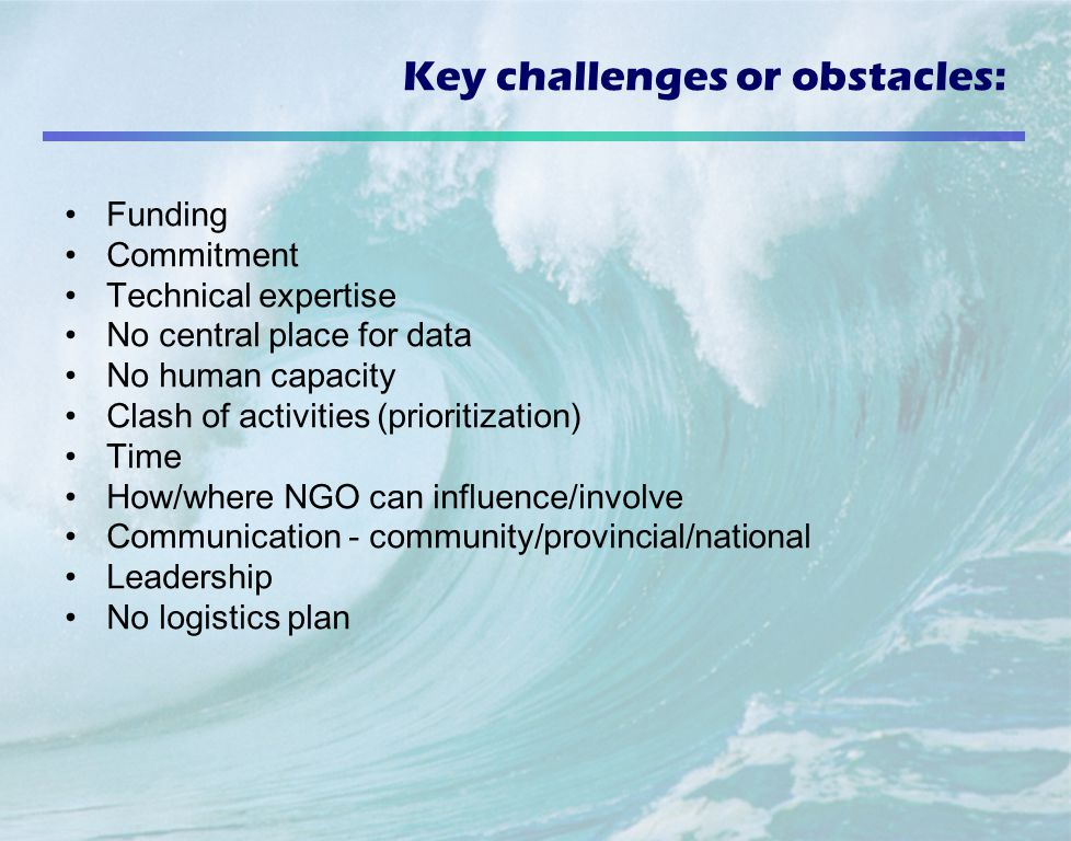 Key challenges or obstacles: Funding Commitment Technical expertise No central place for data No human capacity Clash of activities (prioritization) Time How/where NGO can influence/involve Communication - community/provincial/national Leadership No logistics plan