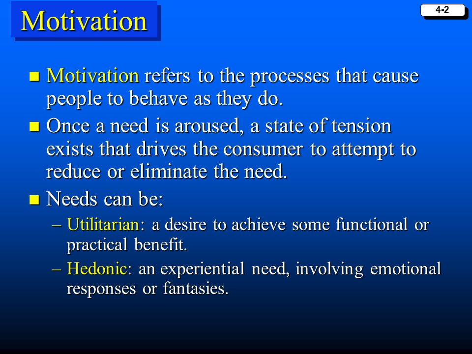 4-3 The Motivation Process Tension Drive Strength Drive Direction Behavior Want Goal