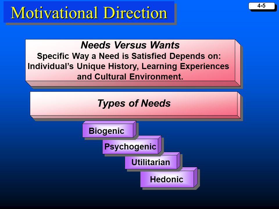4-5 Motivational Direction Needs Versus Wants Specific Way a Need is Satisfied Depends on: Individual's Unique History, Learning Experiences and Cultu