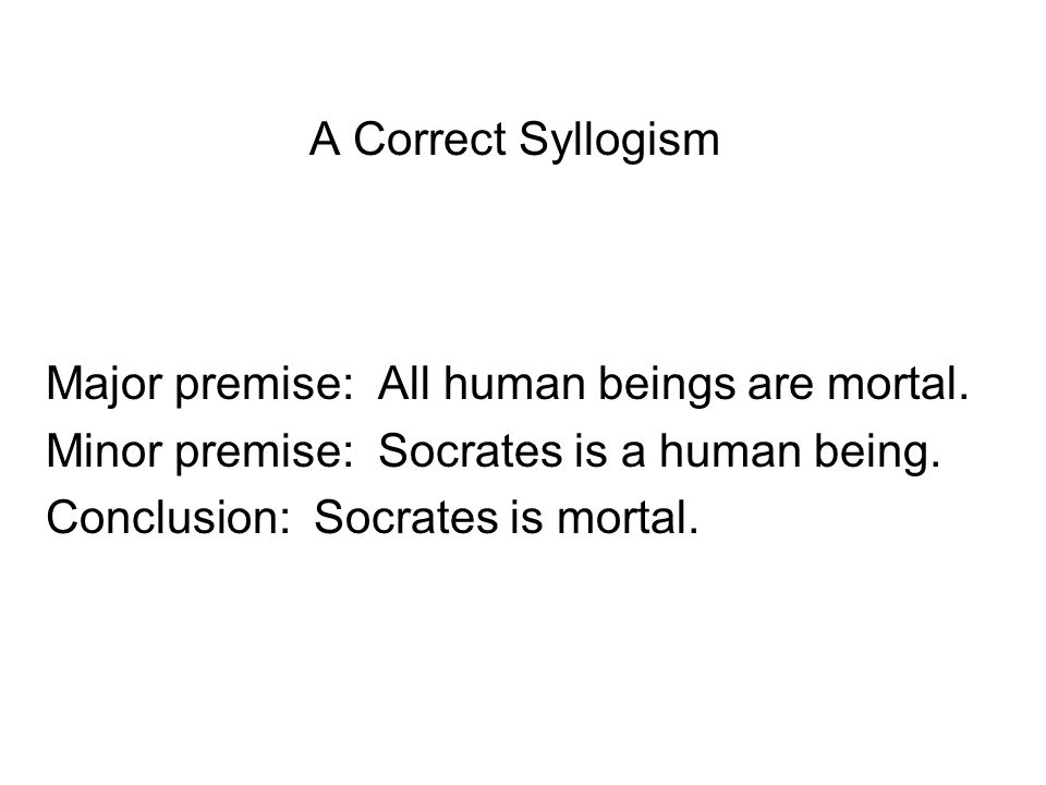 A Correct Syllogism Major premise: All human beings are mortal.