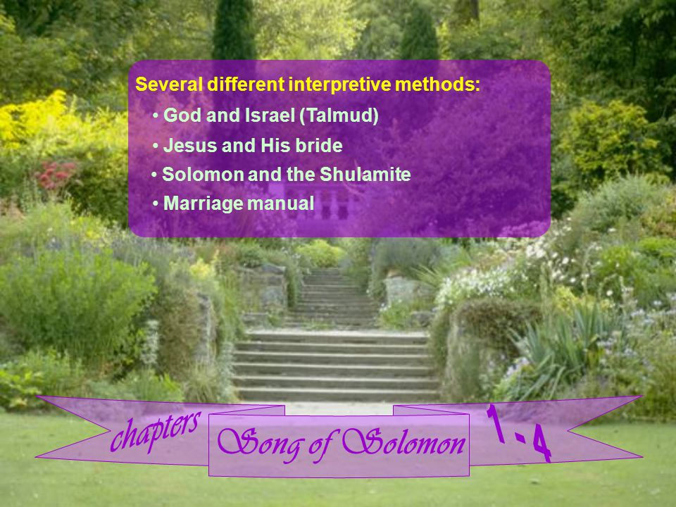 Song of Solomon Several different interpretive methods: God and Israel (Talmud) Jesus and His bride Solomon and the Shulamite Marriage manual