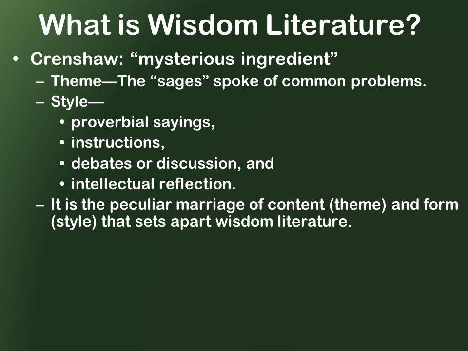 What is Wisdom Literature.